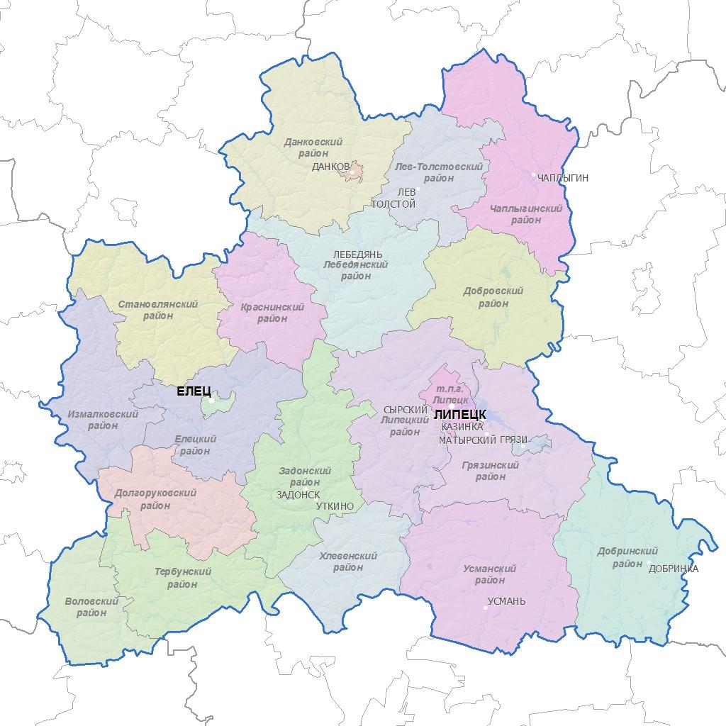 Картинки карт липецкой области центрального
