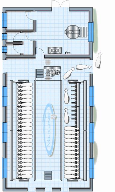 Схема доильного зала с боковым