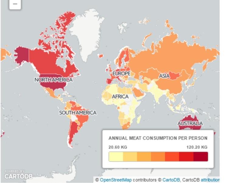 Британские СМИ выяснили, в каких странах потребляют больше всего мяса